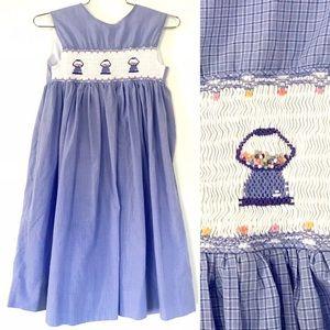Vintage purple gumball embroidered smock dress